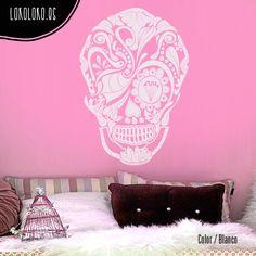 #Vinilodecorativo de un #calaveramexicana con ojos diferentes / #Mexicanskull #wallsticker with different eyes