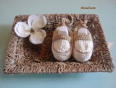 Hand knitted baby's first pair of espadrille by AniramCreates, £7.99