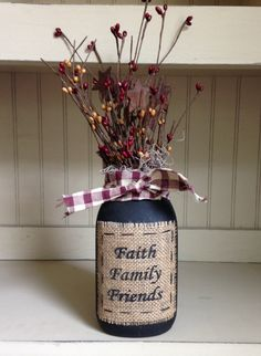 Grungy jar with burlap patch and berries - Faith, Family, Friends - Burgundy/Gold by FarmWivesCollections on Etsy https://www.etsy.com/listing/197909143/grungy-jar-with-burlap-patch-and-berries
