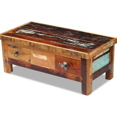 Vintage Retro Coffee Table Solid Wood Living Room Style Furniture With 2 Drawers