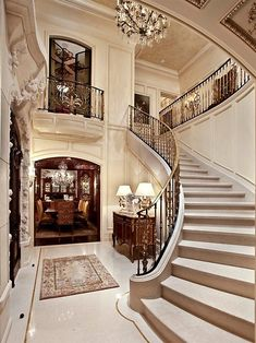 Gorgeous foyer and staircase.from Divine Design.this is my New York row house for when I feel like a week long shopping excursion. Grand Staircase, Staircase Design, Curved Staircase, Luxury Staircase, Winding Staircase, Luxury Homes Interior, Interior Design, Modern Interior, Interior Decorating