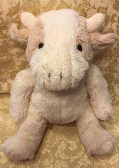 Step By Step White Tan Cow Bull Horns Fur Plush Soft Stuffed Baby Sewn Eyes #StepByStep