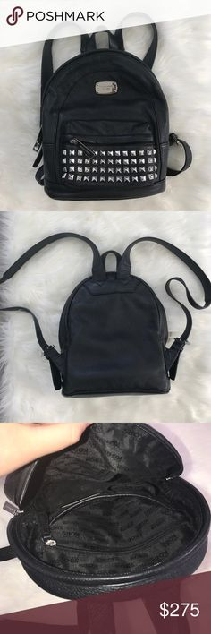 NWOT Michael Kors Backback 💜💜 * No Flaws Whatsoever * 9x11 inches * Solid black leather with metallic studs * 4 inside pockets for storage and organization * Zip pocket front * Silver Michael Kors details and Michael Kors Lining * Adjustable backpack straps Michael Kors Bags