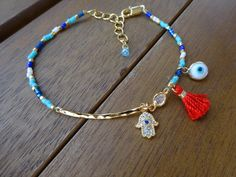 Blue and White Gold Hamsa Charm Bracelet Hammered by cocolocca