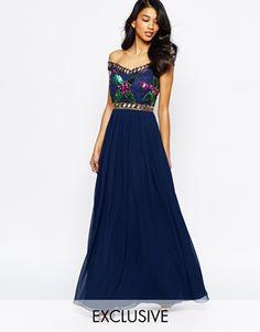 Virgos Lounge Sarah Grace Embellished Bardot Neck Maxi Dress With Pleated Skirt   navy blue