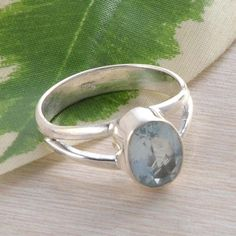 BLUE TOPAZ 925 STERLING SILVER EXCLUSIVE GEMSTONE RING 2.97g DJR2267 S-7 #Handmade #Ring