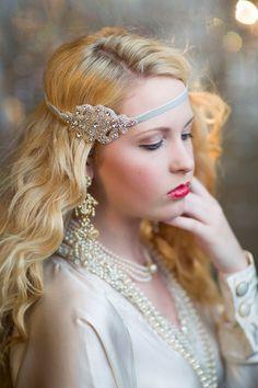 Rhinestone Bridal Headpiece, Great Gatsby Headband, 1920s Flapper Art Deco Silver Beaded Headband, Roaring 20s, Old Hollywood on Etsy, $30.00