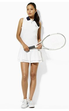 White tennis outfit. Crisp, clean and sporty.