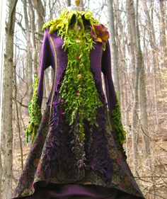 What an incredible creation!  WOW!!  (Sweater COAT. Purple green Shaggy. Size L/XL. by amberstudios, $550.00)