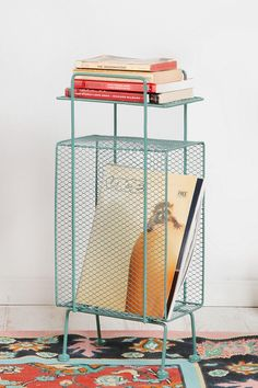 cool retro magazine rack, love the color