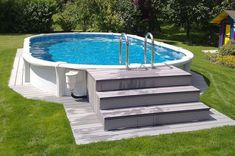 Above ground pools with decks Awesome Photo) – an essential guide for those looking at installing an above ground pool for their home. - All About Garden Above Ground Pool Steps, Above Ground Pool Landscaping, Backyard Pool Landscaping, Deck Ideas For Above Ground Pools, Diy In Ground Pool, Backyard Ideas, Above Ground Swimming Pools, Swimming Pools Backyard, In Ground Pools