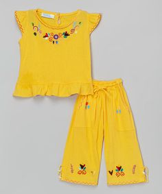 Look what I found on #zulily! Yellow Fernanda Girl Pants & Top - Infant & Toddler #zulilyfinds