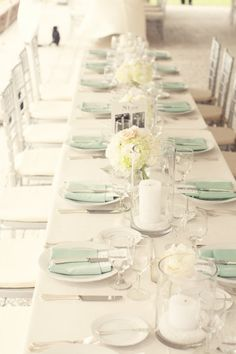 White + mint. Photography by Hyer Images / hyerimages.com/, Event Coordination   Design by W.E.D / charlestonevent.com