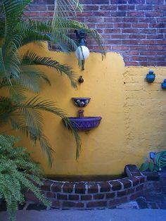 Mexican Courtyard Greeting Card for Sale by Kim Grantier Mexican Courtyard, Mexican Patio, Mexican Garden, Mexican Home Decor, Mexican Hacienda Decor, Mexican Interior Design, Landscape Stairs, Rosarito, Mexico House