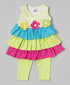 Look at this #zulilyfind! Green Tiered Tunic & Leggings - Infant, Toddler & Girls #zulilyfinds