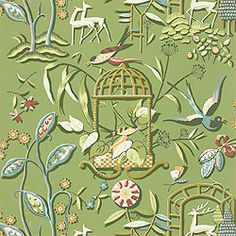 Thibaut wallpaper.  Serendipity collection.  Providence pattern.  Love it in green.