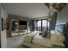 A Moroccan inspired bedroom with views of the Atlantic Ocean. Miami Beach, FL  Coldwell Banker Residential Real Estate