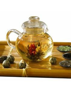 Flowering tea! Pinner said: Just bought this tea pot and some flowering tea to try! Can't wait!
