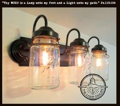 Mason Jar BATHROOM Light Vintage Quart Trio - Mason Jar Light Fixture - The Lamp Goods - 1