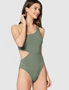 Iris /& Lilly Womens Cut Out One Shoulder High Leg Swimsuit Brand