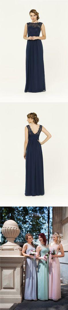 sleeveless bateau neckline long a-line/princess chiffon bridesmaid dress