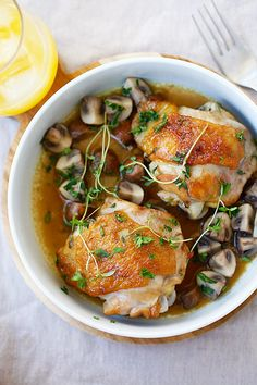 Chicken with Sauteed Mushroom - one-pan chicken with mushroom, all cooked in a pan with wine and chicken broth. So easy, delicious, and budget friendly.