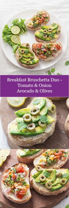 Frugal Food Items - How To Prepare Dinner And Luxuriate In Delightful Meals Without Having Shelling Out A Fortune Breakfast Bruschetta Duo - One With Tomato And Onion And The Other With Avocado And Green Olives. New, Vegan, Easy And Delicious. How To Make Breakfast, Sweet Breakfast, Breakfast Dishes, Vegan Breakfast, Vegan Recipes, Vegan Ideas, Avocado Recipes, Vegan Food, Free Recipes