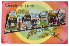 vintage postcard greetings from alabama usa 750x498 pic on Design You Trust
