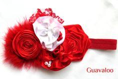 Christmas Headband Shabby Chic lace Headband lace by Guavaloo, $18.95