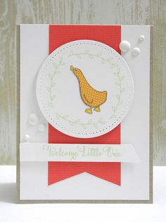 Adorable baby card by Jennifer Ingle using Storybook stamp set from Avery Elle