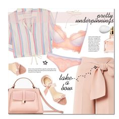 """""""Pretty Underpinnings: Dusty Rose Pink"""" by the-amj ❤ liked on Polyvore featuring Topshop, Guerlain, Alexandre Birman and Solid & Striped"""