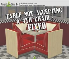 The Diner table fixed! at Around the Sims 4 via Sims 4 Updates Around The Sims 4, Diner Table, Sims 4 Blog, Sims 4 Cc Furniture, Sims 4 Update, Sims 4 Cc Finds, Sims Cc, Chair, Storage