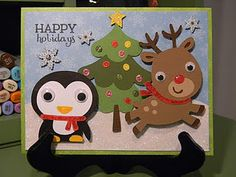 """A2 size -- Christmas Tree - Winter Frolic Cartridge, 3 1/2""""; Penguin, 2"""" Rudolph, 3"""" - Create A Critter"""