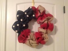 Forth of July American Flag Wreath by LilyandTuck on Etsy, $40.00