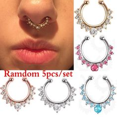 Buy Crystal Fake Septum Nose Ring Piercing Clip On Nostril Sexy Fake Hoop Nose Stud Clip Ring For Women Body Jewelry at Wish - Shopping Made Fun Labret, Septum Nose Rings, Nose Stud, Nose Piercing Fake, Lip Rings, Septum Clicker, Piercing Ring, Ear Piercings, Bridesmaid Earrings