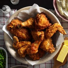 Best-Ever Fried Chicken Recipe -Crispy, juicy and perfectly seasoned, this fried chicken lives up to its name. Summer reunions and neighborly gatherings will never be the same. When I was growing up, my parents had a farm, and every year, Dad would hire teenage boys to help by haying time. They looked forward to coming because they knew they would be treated to Mom's delicious fried chicken. —Lola Clifton, Vinton, Virginia