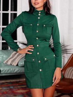 Solid Button Pocket Design Coat Dress Shop- Women's Best Online Shopping - Offering Huge Discounts on Dresses, Lingerie , Jumpsuits , Swimwear, Tops and More. Blazer Dress, Coat Dress, Buy Dress, Slim Suit, Mini Slip Dress, Green Blazer, Pattern Fashion, Sleeve Styles, Ideias Fashion