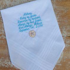 GROOM from BRIDE Wedding heirloom handkerchief custom embroidered