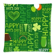 Vintage Happy St Patricks Day Throw Pillow Case Sofa Bed Home Decor Cushion Cover 18 x 18 Inches *** Continue to the product at the image link-affiliate link. #FireplaceAndAccessories
