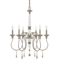 Hang this weathered chandelier over the dining table to illuminate family meals in elegant style, or add it to your master suite as a touch of sophisticat...