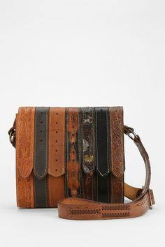 American Vintage Tooled Belt Messenger Bag