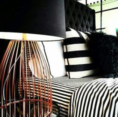{ L A M P } Beautiful new copper bar lamps just arrived instore, with black or navy shades. For a subtle copper infusion this season. Copper Bar, Shades, Seasons, Black And White, Navy, Lamps, Beautiful, Bathroom, Collection
