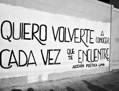 Quiero volverte a conocer cada vez que te encuentre. / Acción poética- Lima