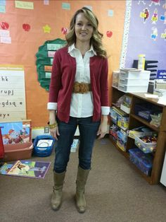 Teacher clothing blog-red and camel
