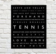 Tennis - Sports Decor - Tennis Typography Prints by PaperWallDesign can be Personalized to include your Athletes Name. Motivational words to celebrate and inspire your Player. Explore our entire collection of Sports Typography Prints to celebrate the Athl Tennis Shop, Tennis Party, Tennis Posters, Soccer Poster, Sports Art, Kids Sports, Sports Decor, Tennis Crafts, Tennis Funny