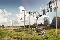 If only I could make my stage laundry line taller.  And then hang and swing from it...       erik johansson - Google Search
