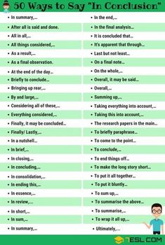 In Conclusion Synonym! List of other ways to say In Conclusion in English with ESL picture. Learn these synonyms for in conclusion to improve your vocabulary and fluency in English. English Tips, English Idioms, English Vocabulary Words, English Phrases, Learn English Words, English Lessons, English Grammar, Vocabulary Pdf, Vocabulary Journal