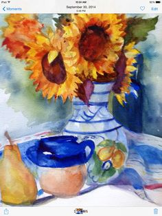"""Sunflowers and Pear"" by Texas Watercolor Artist, Karen Scherrer"