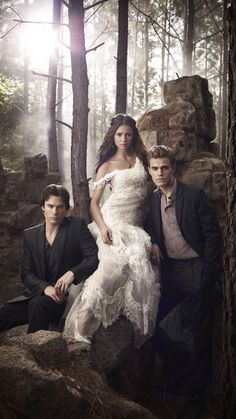 'Elena, Damon and Stefan - The Vampire Diaries - Season 2 - Promotional Poster ' Poster by shipwithme Vampire Diaries Damon, Vampire Diaries Season 2, Serie The Vampire Diaries, Vampire Diaries Poster, Vampire Daries, Vampire Diaries Quotes, Vampire Diaries Wallpaper, Vampire Diaries The Originals, Vampire Wedding