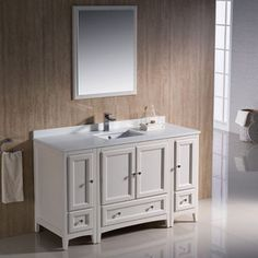 Pic Of Shop for Fresca Oxford inch Antique White Traditional Bathroom Vanity with Side Cabinets